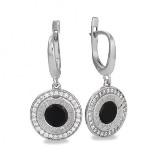 Срібні сережки з оніксом СВ1051с