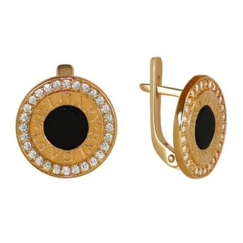 Золотые серьги с ониксом СВ1051(2)и