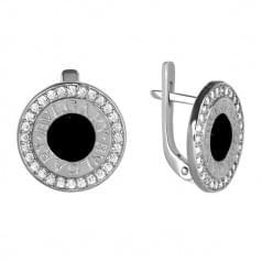 Сережки серебряные со вставкой