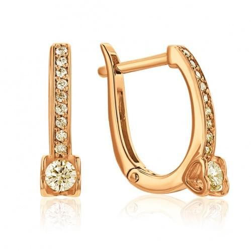Золотые серьги с бриллиантом СВ1103.00100н
