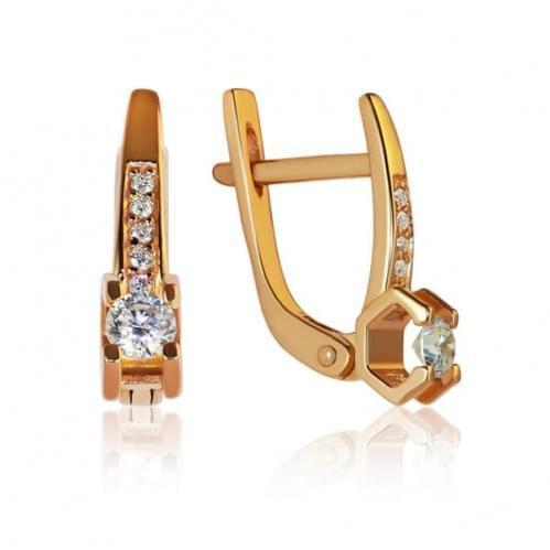 Золоті сережки з фіанітом СВ1104и