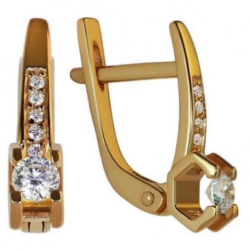 Золоті сережки зі вставкою СВ1104н