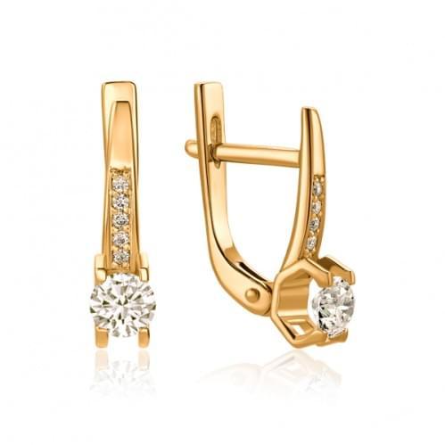 Золотые серьги с бриллиантом СВ1104.00100н