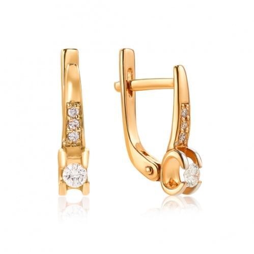 Золотые серьги с бриллиантом СВ1105.00100н