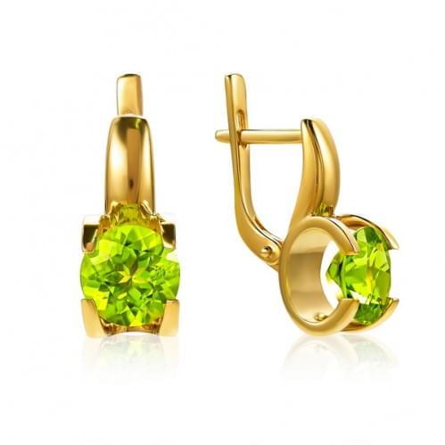 Золоті сережки з хризолітом СВ1113.10307н