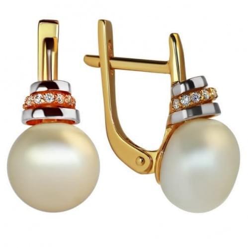Золотые серьги с жемчугом СВ1117и