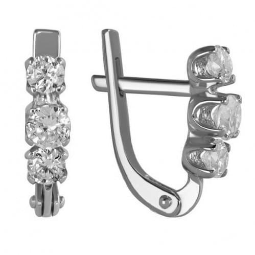 Срібні сережки з фіанітом СВ1127с