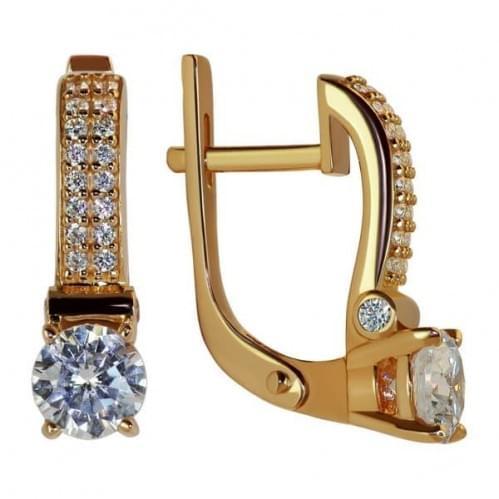 Золоті сережки з фіанітом СВ1129и