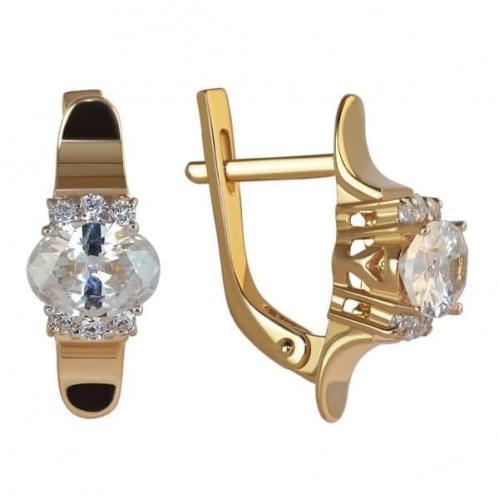 Золоті сережки з фіанітом СВ1136и