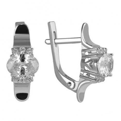 Срібні сережки з фіанітом СВ1136с