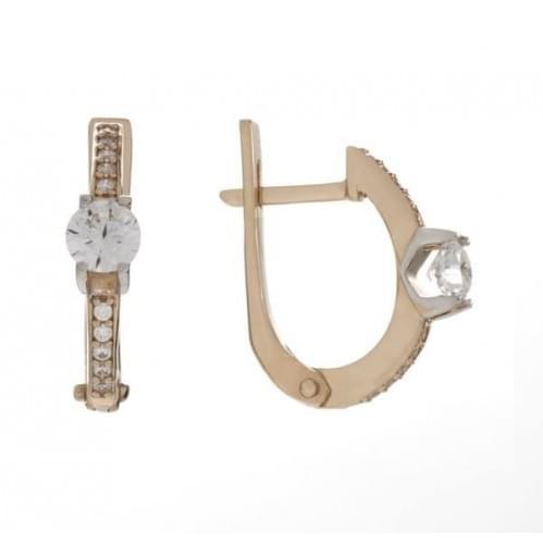 Золотые серьги с фианитом СВ1161и