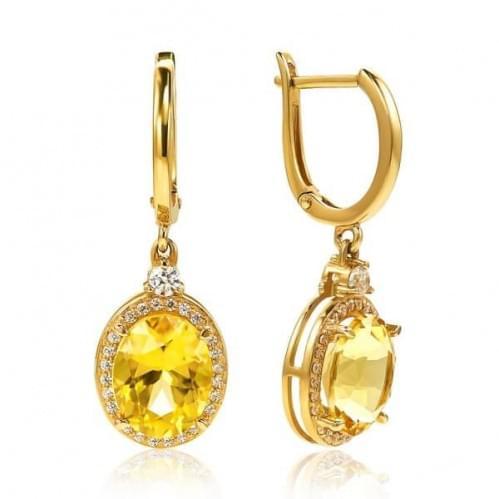 Золотые серьги с цитрином СВ1186(2).10408н