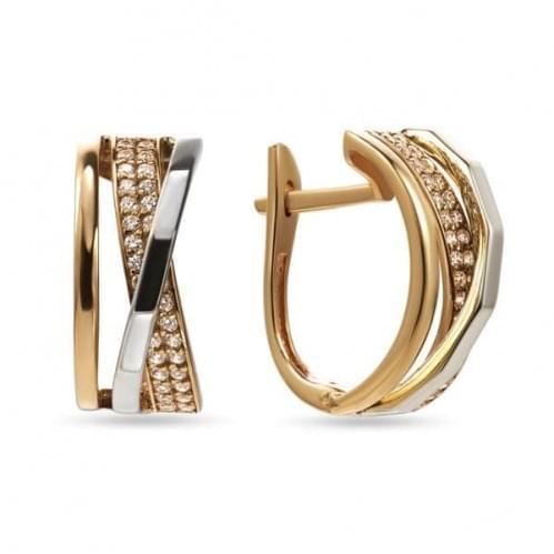 Золотые серьги с фианитом СВ1204Ки