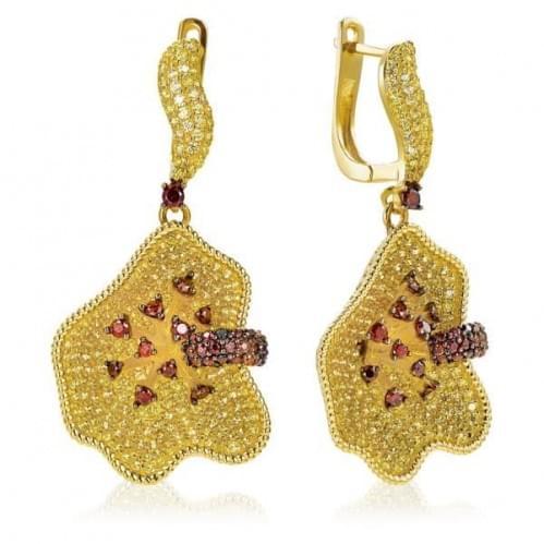 Сережки з цитрином в лимонному золоті (Флорентіно - Collection Florentino) СВ1212Лн(к)