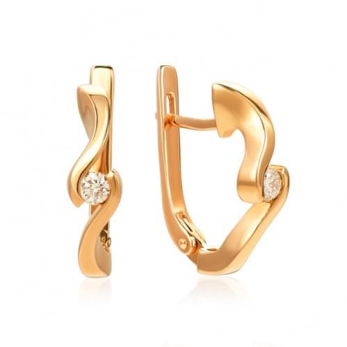 Золотые серьги с бриллиантом СВ1218.00100н