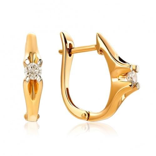 Золотые серьги с бриллиантом СВ1219.00100н