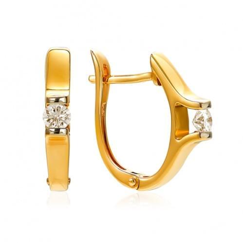 Золотые серьги с бриллиантом СВ1222.00100н