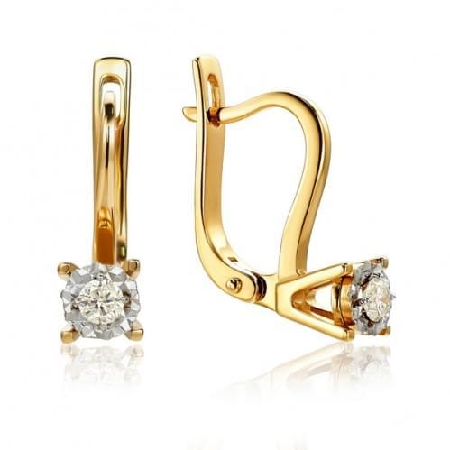 Золотые серьги с бриллиантом СВ1232.00100н