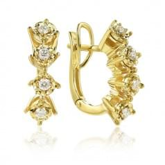 Сережки з лимонного золота з діамантом