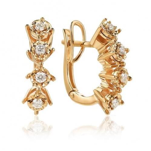 Золотые серьги с бриллиантом СВ1236.00100н