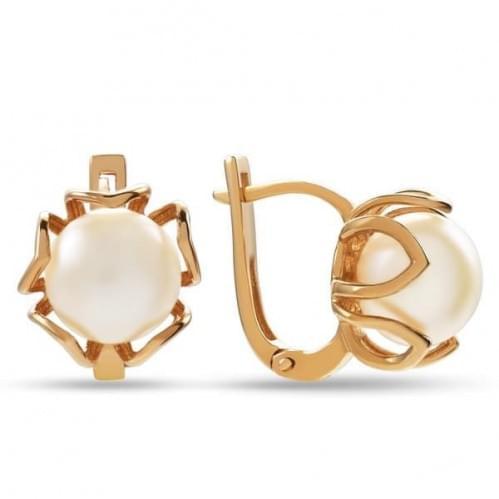 Золоті сережки з перлами СВ1255и