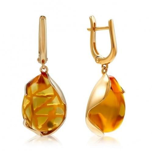 Золотые серьги с цитрином СВ1354.10408н
