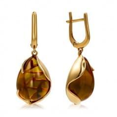 Золотые серьги с нано султанитом