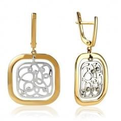 Серьги комбинированное золото со вставками