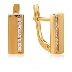 Золотые серьги с фианитом