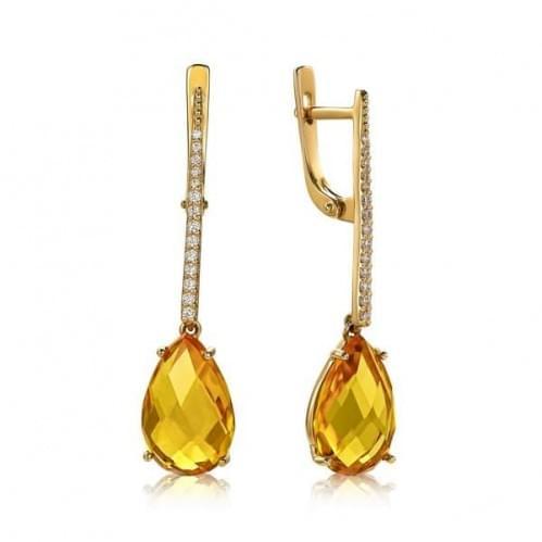 Золотые серьги с цитрином СВ1380.10408н