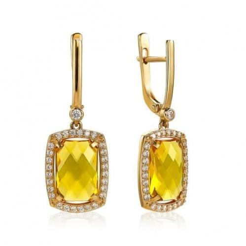 Золотые серьги с цитрином СВ1382.10408н