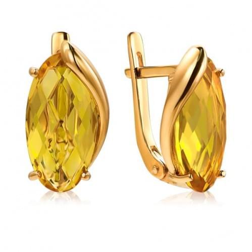 Золотые серьги с цитрином СВ1391.10408н