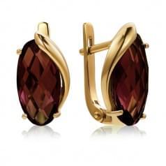 Золотые серьги с нано marsala