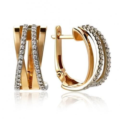 Золотые серьги с фианитом СВ1437р