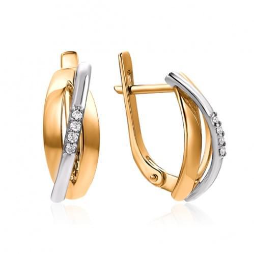 Золотые серьги с бриллиантом СВ1459.00100н