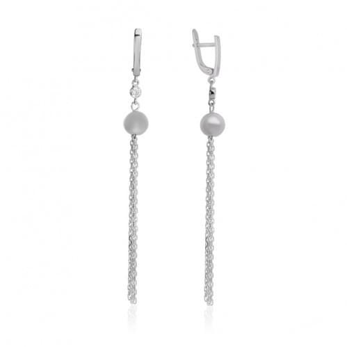 Срібні сережки з фіанітом СВ173с