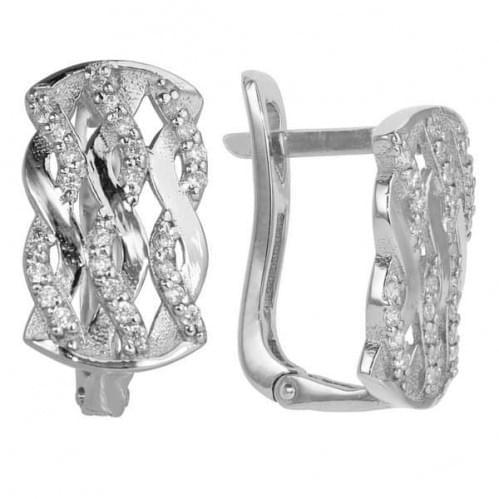Срібні сережки з фіанітом СВ177с