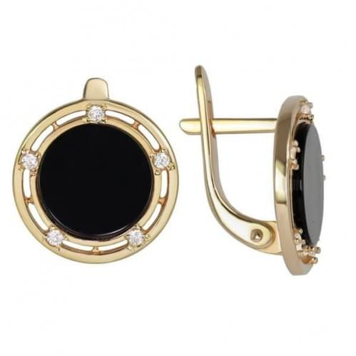 Золотые серьги с ониксом СВ189и