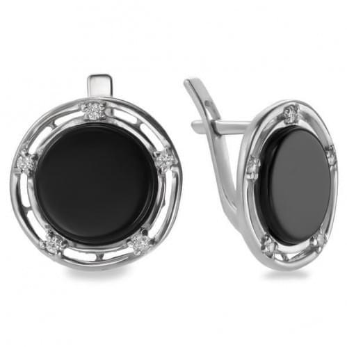 Срібні сережки з оніксом СВ189с