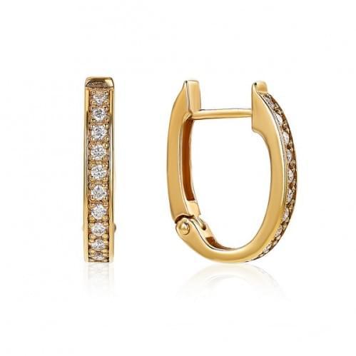 Золотые серьги с бриллиантом СВ245.00100н