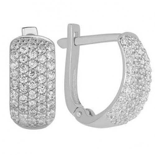 Срібні сережки з фіанітом СВ246с