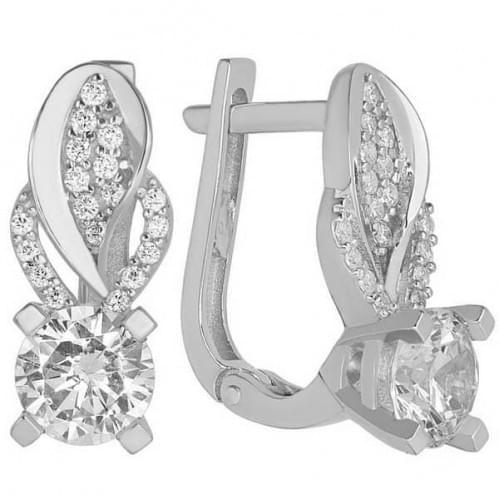 Срібні сережки з фіанітом СВ247с