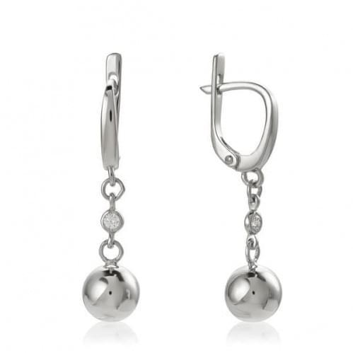 Срібні сережки з фіанітом СВ248с
