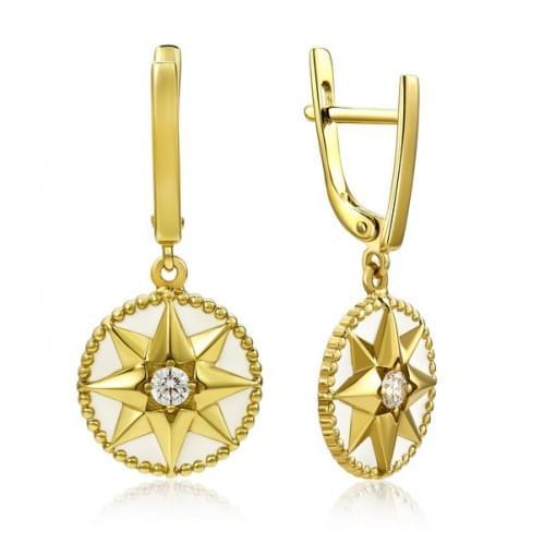 Сережки з лимонного золота з фіанітом СВ3341(1)Лр