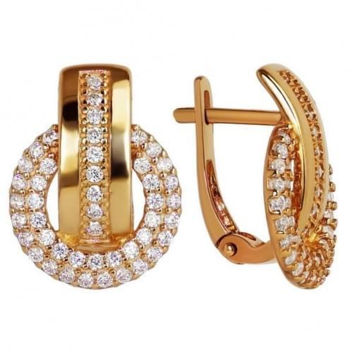 Золотые серьги с фианитом СВ347и