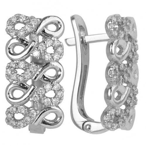 Срібні сережки з фіанітом СВ434с