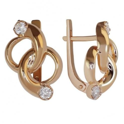 Золотые серьги с фианитом СВ441и