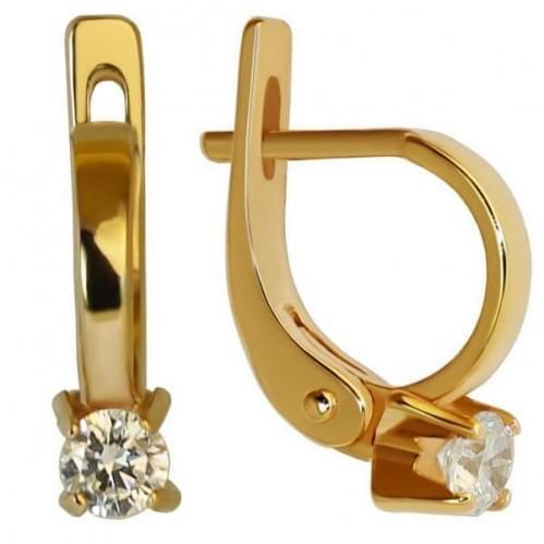 Золотые серьги с фианитом СВ473и