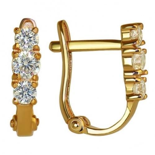 Золотые серьги с фианитом СВ474и