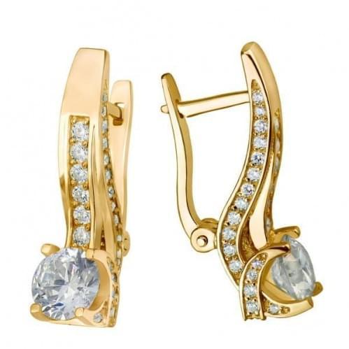 Золоті сережки з фіанітом СВ642и